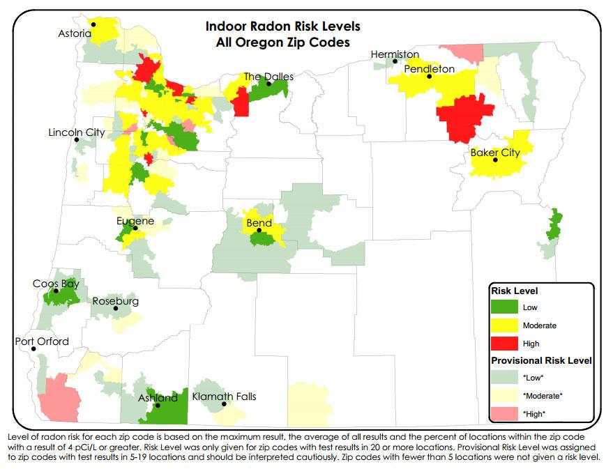 Oregon Radon Map New radon data highlights Oregon danger zones