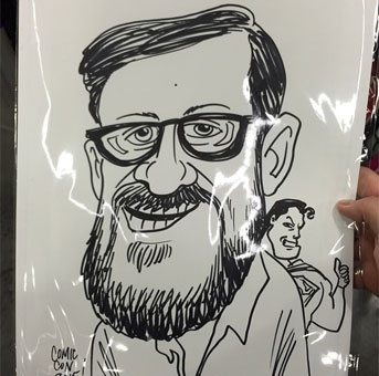 I couldn't resist my first caricature, though I am now re-evaluating some grooming decisions.
