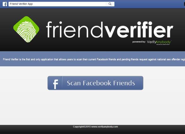 The Friend Verifier app on Facebook (February 2015)