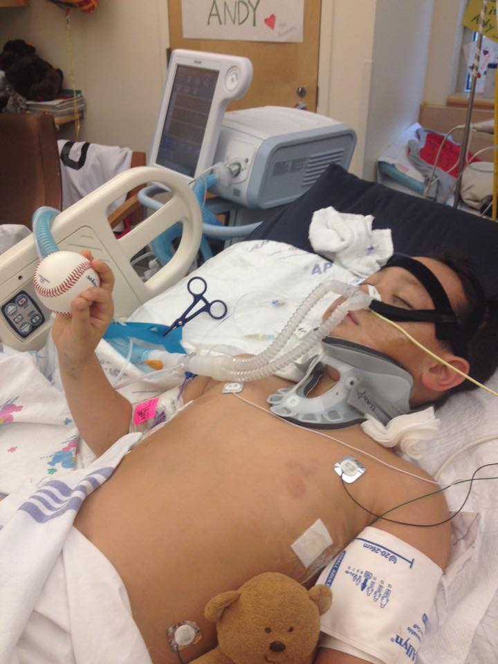 Andy Grass, 10, was injured at Rockaway Beach when pinned under a log on Christmas Eve 2014 (Courtesy: Grass family, February 2015)