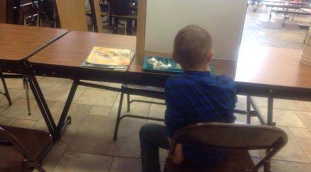 This 1st-grader was forced to sit alone at lunch because he was tardy at Lincoln Elementary in Grants Pass, Feb. 25, 2015 (Courtesy to KOIN 6 News via Facebook)
