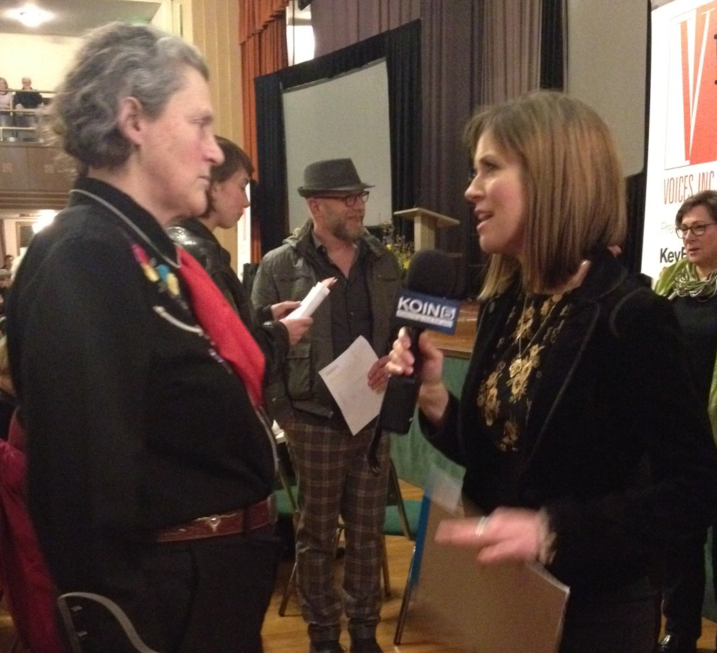 KOIN 6 News anchor Anne State speaks with Temple Grandin at the Voices Lectures in Portland. February 4, 2015 (KC Cowan)