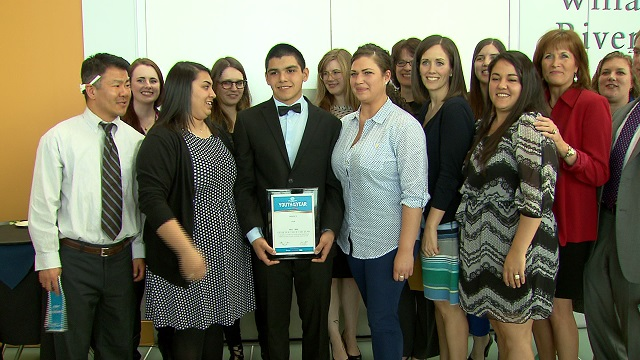 Bryan Gastelum-Plata was named the Youth of the Year by the Boys and Girls Clubs of Oregon, March 19, 2015 (KOIN 6 News)