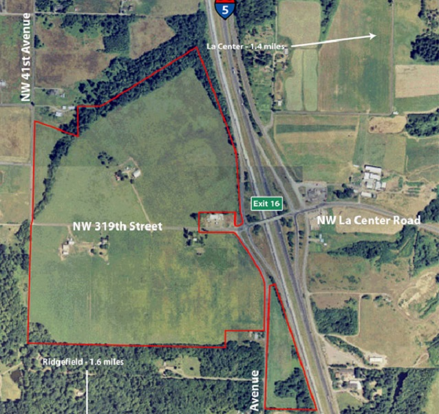 The highlighted area is the land the Cowlitz Tribe has for its planned casino in northwest Clark County, March 12, 2015 (KOIN 6 News)
