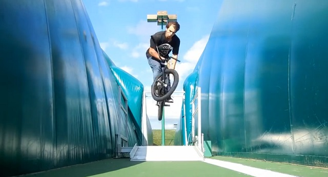 In a screen grab from his YouTube account, Josh Navarro is seen riding his BMX, undated