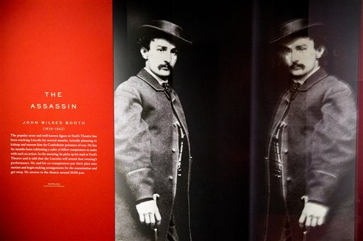 "A large photograph depicting President Abraham Lincoln's assassin John Wilkes Booth is displayed at a new exhibit entitled ""Silent Witnesses: Artifacts of the Lincoln Assassination"" Tuesday, March 17, 2015 at the Ford's Center for Education and..."