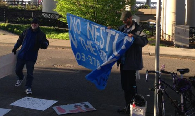 Protest against Nestle water plant, April 16 2015 (KOIN 6)