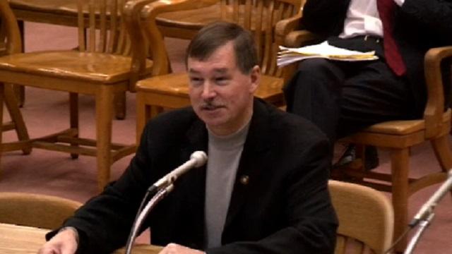 Oregon State Sen. Brian Boquist, R-Dallas, at a hearing of the Senate Judiciary Committee, April 8, 2015 (KOIN 6 News)