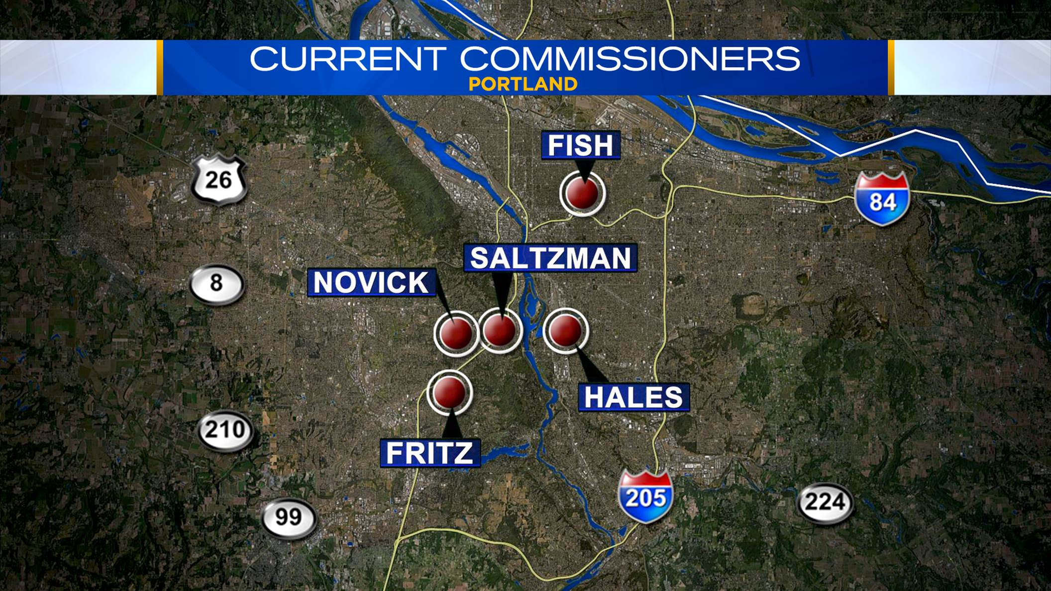 Areas where Portland's commissioners currently live, May 6, 2015. (KOIN 6 News)