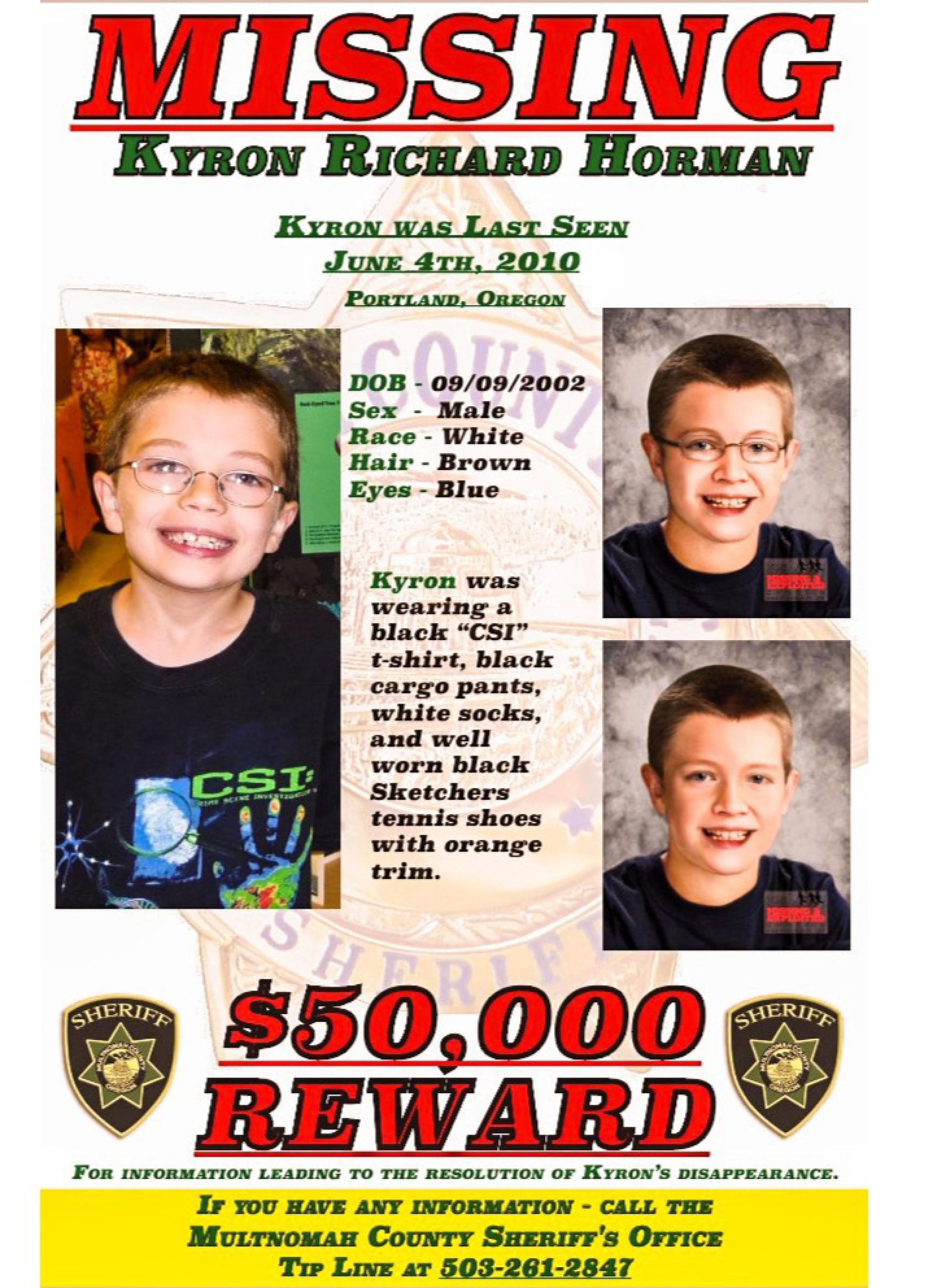 May 2015 Kyron Horman missing flier