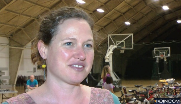 Miriam Dean is a nurse who was off-duty but helped injured cyclist Alistair Corkett after a crash. She donated items to help him get back on a bike, May 24, 2015 (KOIN)