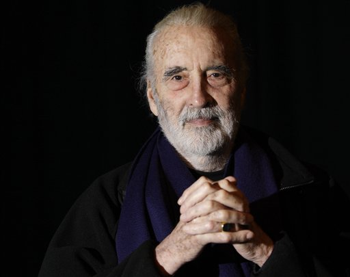 In this file photo dated Friday March 5, 2010, British actor Sir Christopher Lee is photographed before his interview with APTN, at the AP offi_167590