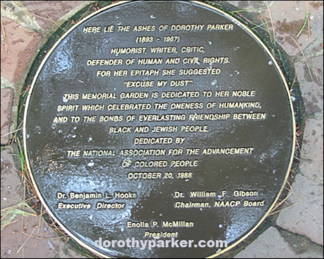 This is the resting place of Dorothy Parker's ashes at the NAACP Headquarters in Baltimore. (Photo by Kathy Gadziala, posted on DorothyParker.com)
