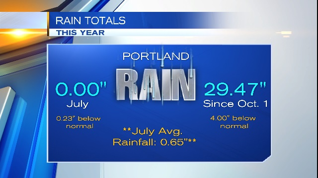 A graphic showing rain totals through July 9, 2015 (KOIN)