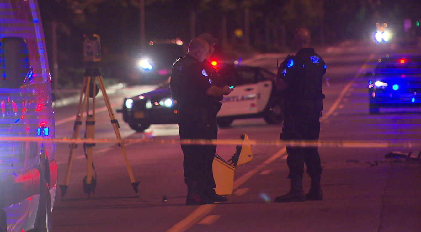 A motorcyclist died Sunday night after being involved in a crash with a pickup truck in North Portland, August 23, 2015. (KOIN)