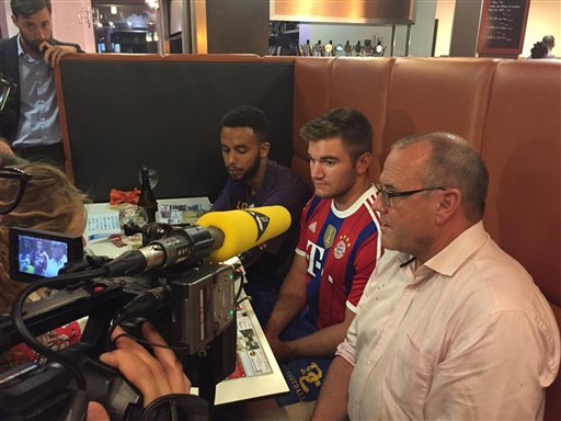 Passengers of the Thalys train who subdued a gunman display their medal after being awarded by the mayor of Arras, France. (L-R) Anthony Sadler, a senior at Sacramento State University, Alek Skarlatos, US National Guardsman from Roseburg, Oregon,...