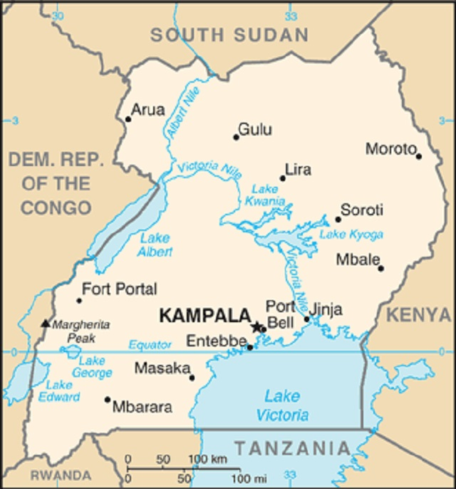 A map of Uganda, from the World Fact Book, Aug. 18, 2015