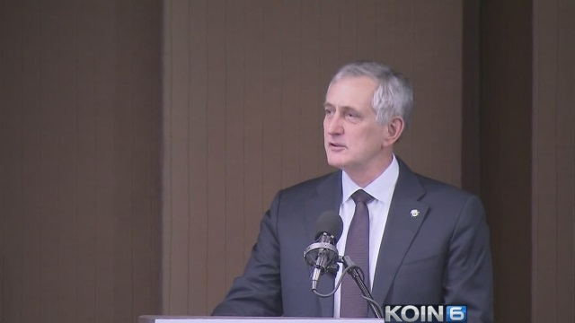Portland Mayor Charlie Hales delivered his State of the City address, Jan. 30, 2015 (KOIN 6 News)