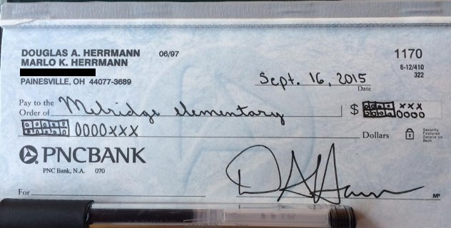 """Doug Hermann wrote this check to an Ohio school using """"Common Core numbers,"""" Sept. 16, 2015 and posted it to his Facebook page"""