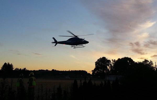 A Life Flight helicopter was used to transport a cyclist injured in the crash. (Jeff Boerio)