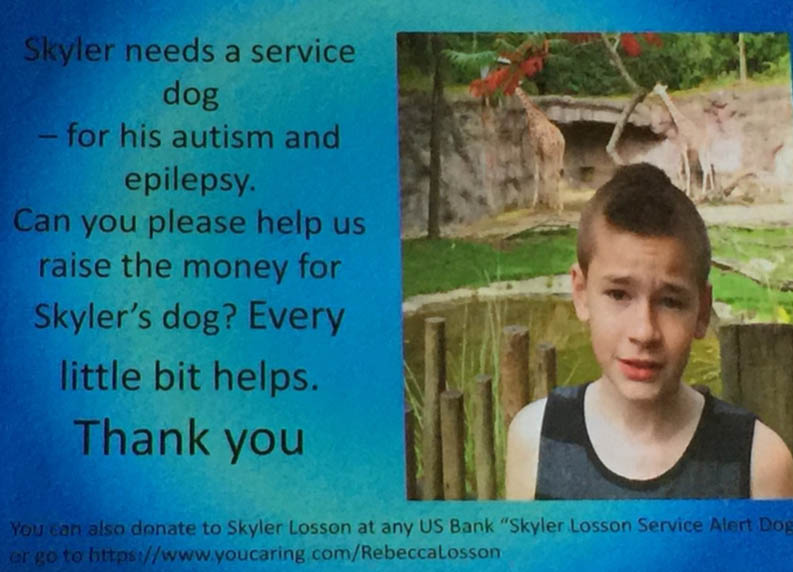 Skyler and his family are raising money to get him a special therapy dog. (The Losson Family)