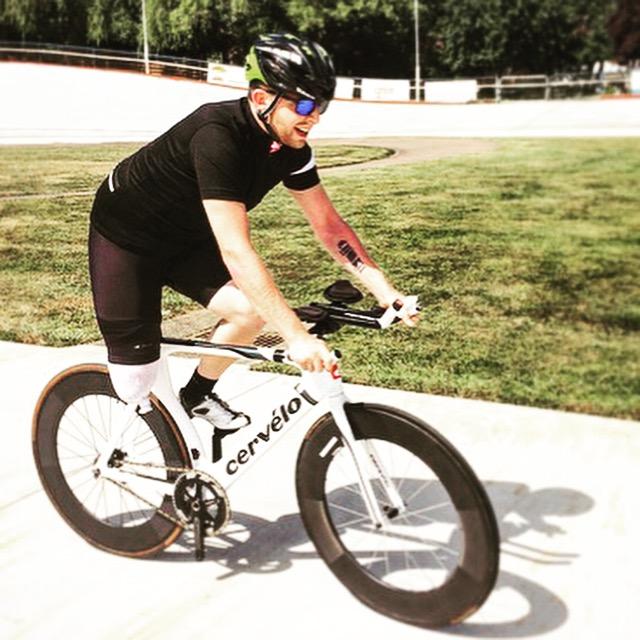 Alistair Corkett, who lost his leg when he was hit by a pickup truck, is back on a bike, June 12, 2015 (COURTESY CORKETT FAMILY)