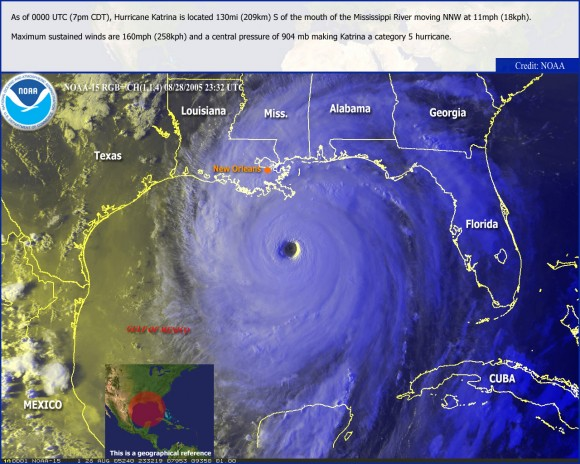 Hurricane Katrina seen by satellite on Aug. 28, 2005 (NOAA)