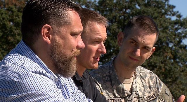 (L-R) Sean Davis, Ryan Tuttle and Kevin Hartman discussed their Hurricane Katrina experiences, Sept. 21, 2015 (KOIN)