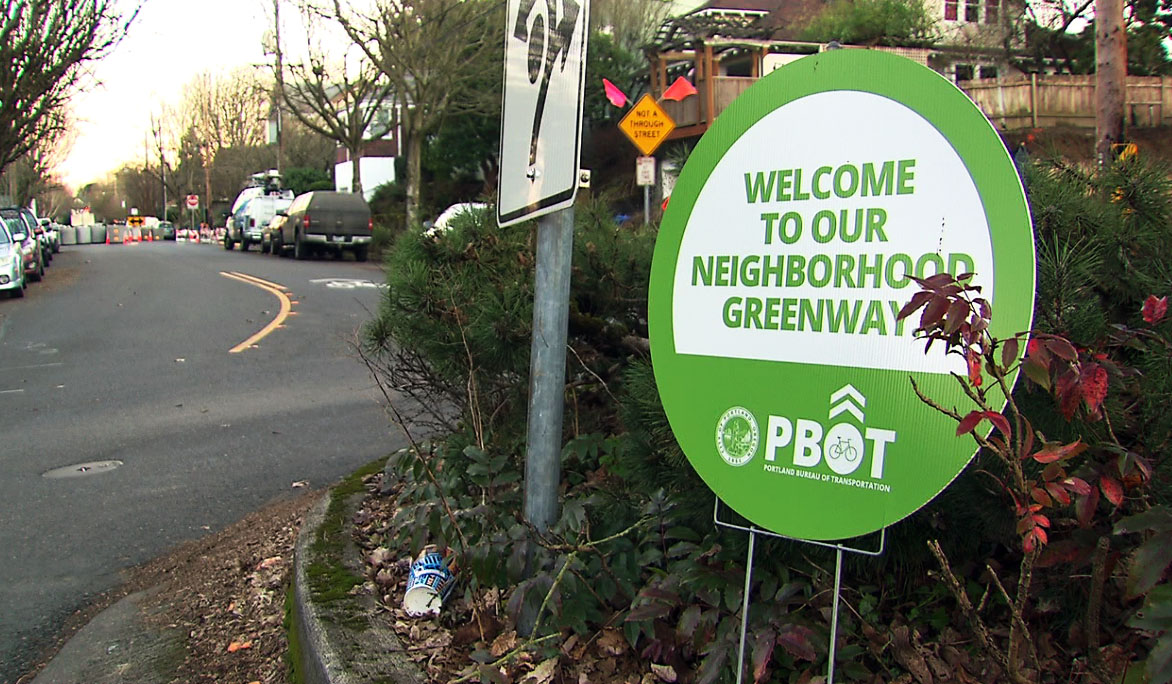 Diverters installed on Southeast Clinton's greenway are causing some confusion for bicyclists and drivers. (KOIN)