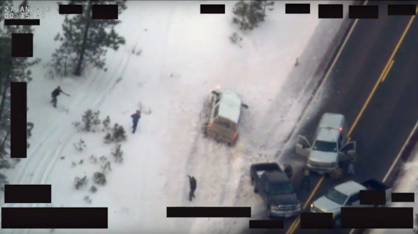 Aerial video provided by the FBI shows LaVoy Finicum being shot on January 26, 2016. (FBI)