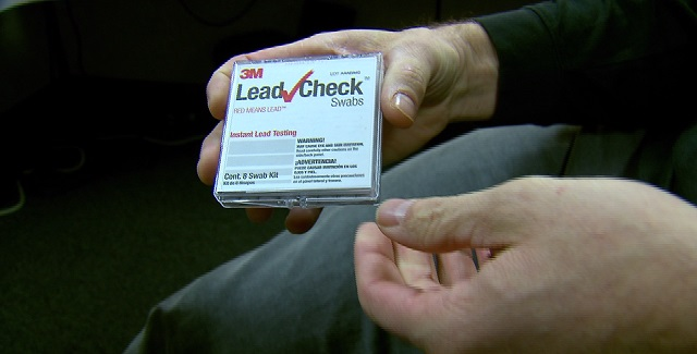 Lead check swabs are used to detect lead levels in household items, Jan. 7, 2016 (KOIN)