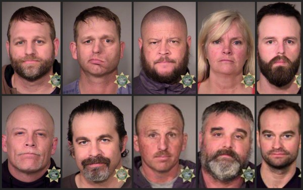 Ten of the 11 people arrested in connection with the occupation of the Malheur National Wildlife Refuge. (Top, L-R) Ammon Bundy, Ryan Bundy, Brian Cavalier, Shawna Cox, Ryan Payne. (Bottom L-R) Joseph O'Shaughnessy, Pete Santilli, Duane Ehmer,...