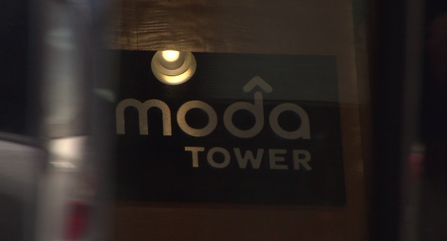 A sign inside the Moda Tower in downtown Portland, Jan. 29, 2016 (KOIN)
