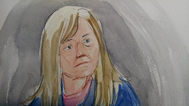 Shawna Cox in an appearance in US Federal Court in downtown Portland, Jan. 29, 2016 (Abigail Marble/Courtroom Sketch)
