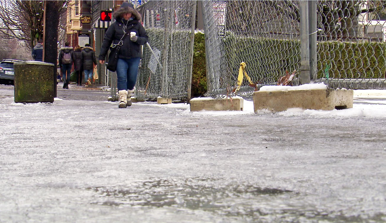 Freezing rain and snow over the weekend made road conditions treacherous for drivers, and pedestrians haven't had it easy, either. (KOIN)