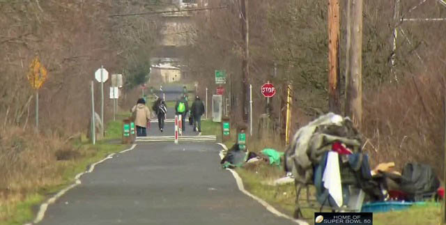 One of numerous homeless camps along the Springwater Corridor in East Portland, Jan. 15, 2016 (KOIN)