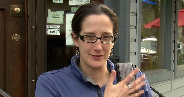 Erika Moseson lives in the area of SE 22nd and Powell and is concerned about the air quality, Feb. 5, 2016 (KOIN)