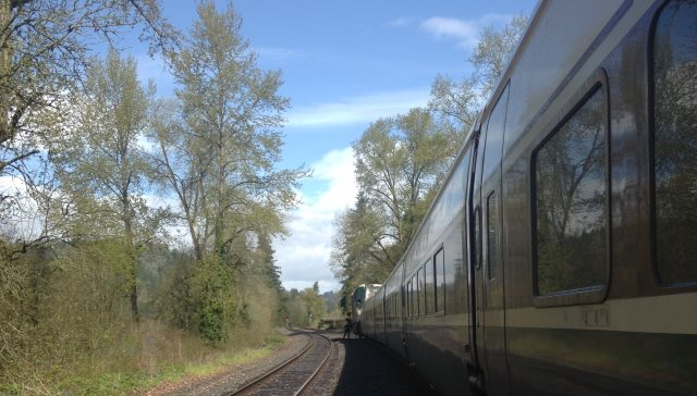 Two people died in a likely suicide when they were hit by an Amtrak train near Canby off Hwy 99E, March 27, 2016 (Clackamas County Sheriff's Office)