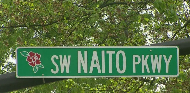 A sign for SW Naito Parkway, the street named after Bill Naito. (KOIN)