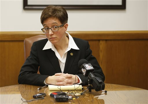 Oregon Speaker of the House Tina Kotek, D-Portland, listens to a question during a news conference in her office at the Capitol, in Salem, Ore., Thursday, Feb. 12, 2015. (AP Photo/Timothy J. Gonzalez)