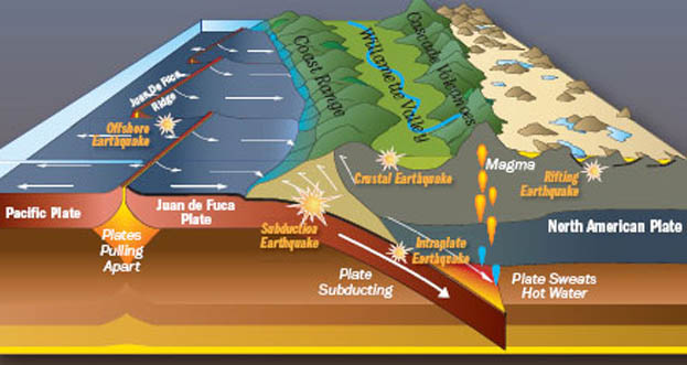 A diagram of the Cascadia Subduction Zone provided by the Oregon Historical Society.