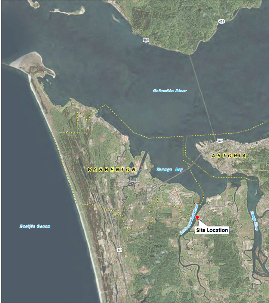 This is a map of the Astoria area and the location of the Astoria Marine Construction Company