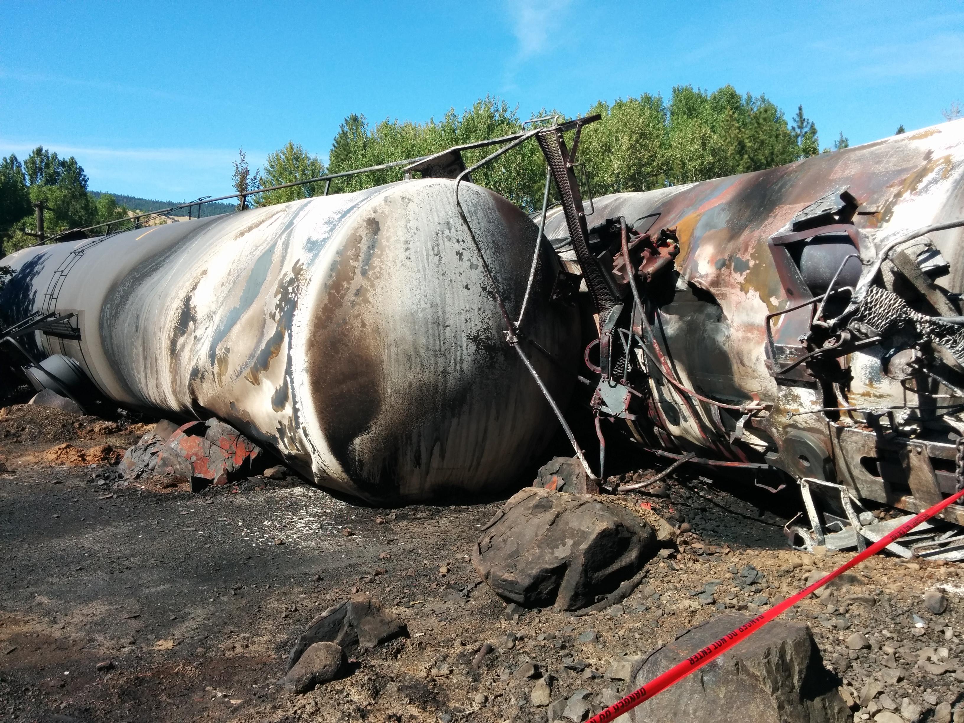 A photo provided by Oregon DEQ shows debris following a train derailment in Oregon.