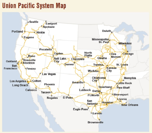 The Union Pacific rail system map as seen on their website, June 6, 2016