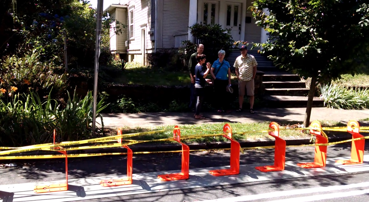 A Biketown rack being installed along SE Taylor in Portland, July 13, 2016 (KOIN)