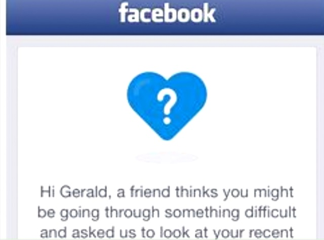 An example of a Facebook message sent to someone possibly experiencing a crisis (KOIN)