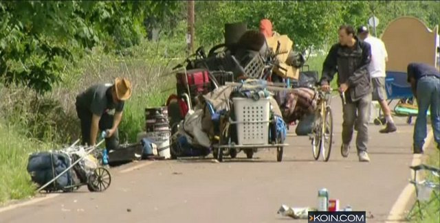 This is an image of homeless campers on the Springwater Trail