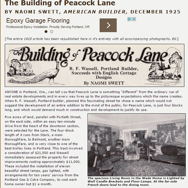 A 1925 article about  Peacock Lane, as seen in an online article from Antique Home Style