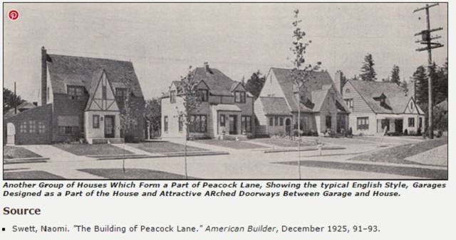 A 1925 photo of Peacock Lane, as seen in an online article from Antique Home Style