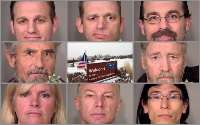 L-R, top to bottom: Ammon Bundy, Ryan Bundy, Pete Santilli, Neil Wampler, Kenneth Medenbach, Shawna Cox, Jeff Banta, David Fry, 2016 (Multnomah County Sheriff's Office)